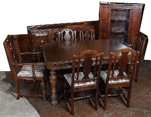 57 9 Piece Jacobean Walnut Dining Room Set