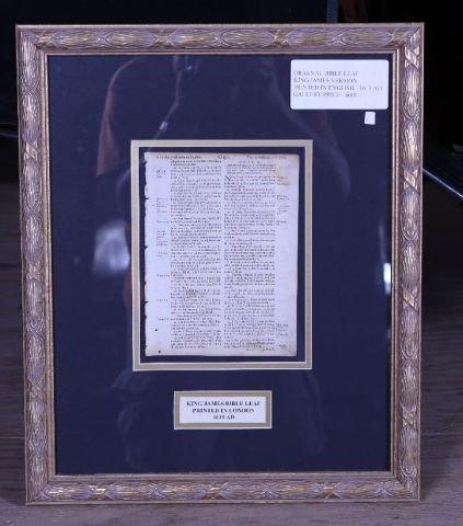 1A: Original King James 1619 Bible Leaf