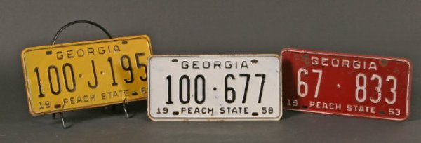 5: Lot 3 Georgia Tags 1961,63, 58
