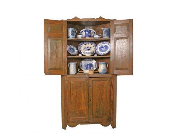 771: Primitive Pine corner cupboard, pegged & chamfered
