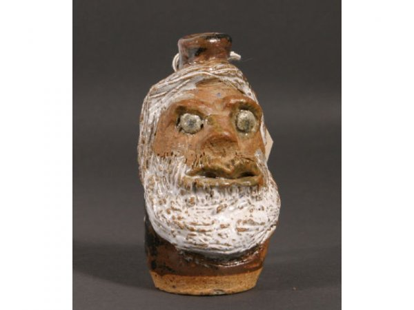 23: Marie Rogers miniature face jug; 4inch tall; brown - 2