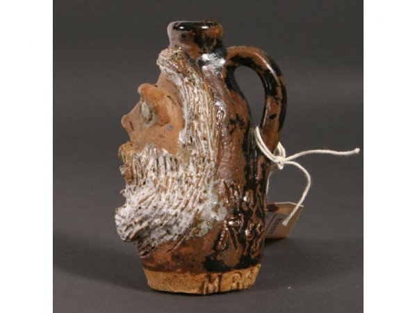 23: Marie Rogers miniature face jug; 4inch tall; brown - 3