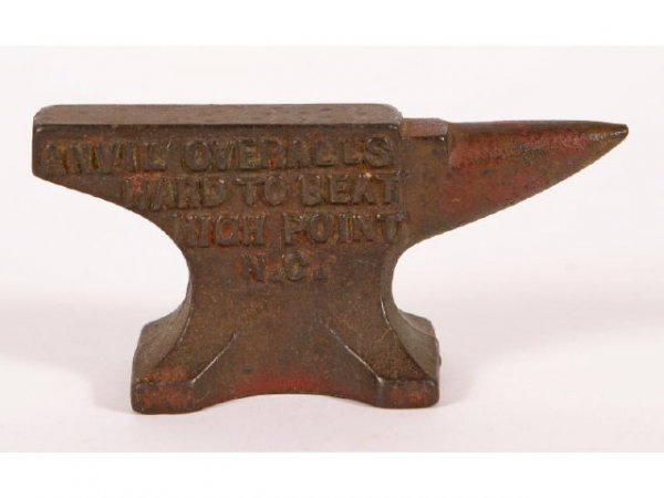 422: Miniature anvil; Anvil Overalls; High Point, NC; 1 - 2