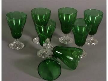 3078: 8 - green Tetley Tea glasses