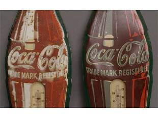 2 - vintage Coke bottle thermometers