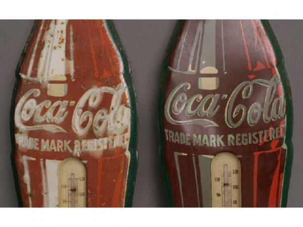 16: 2 - vintage Coke bottle thermometers
