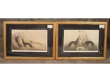 192: 2 - Framed prints by Louis Icart