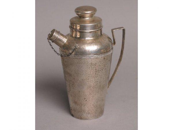 244: Hammered sterling silver cocktail shaker