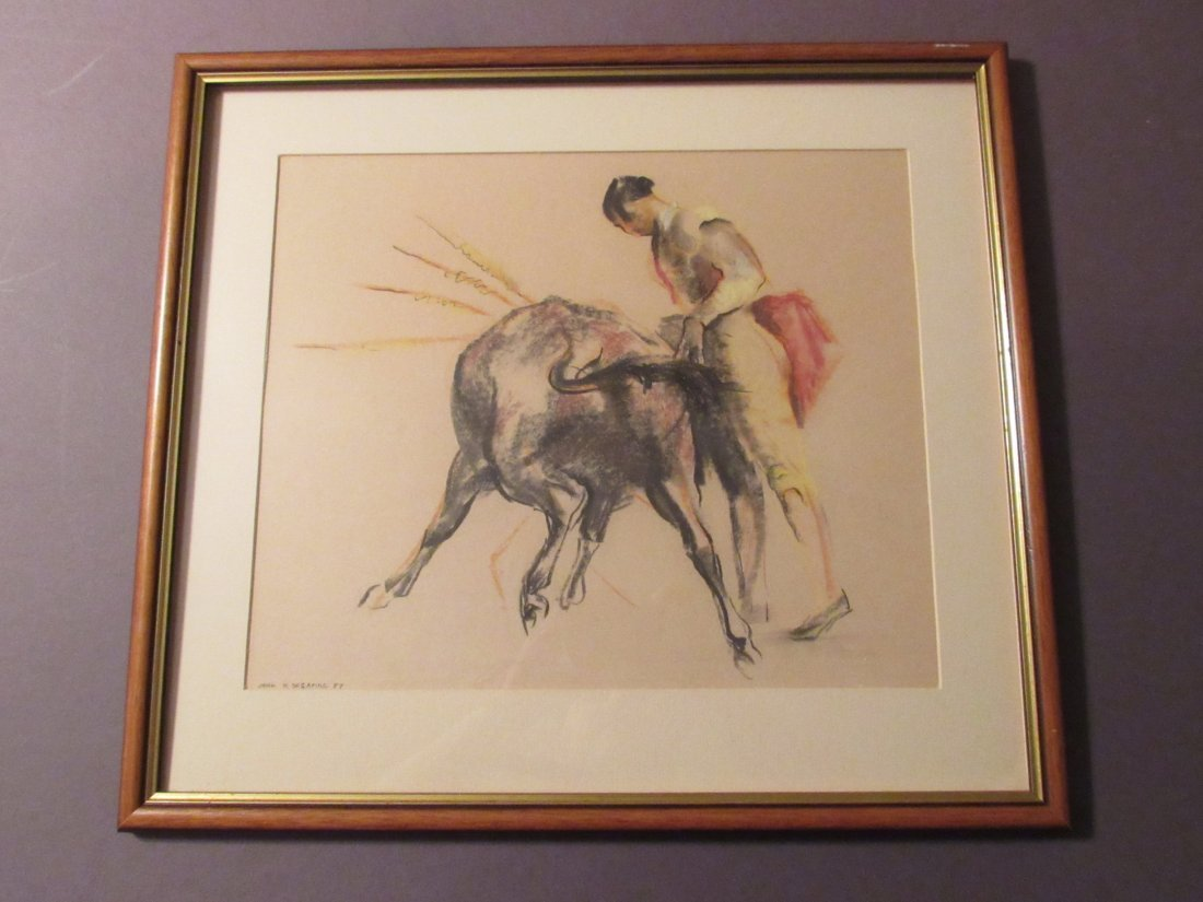 Original Charcoal and Colored Chalk Drawing of Spanish