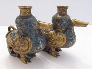 Pair of Gilt Bronze Cloisonne Duck Vases