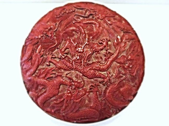 Circular Cinnabar Carved Lacquer Box with Dragons - 3