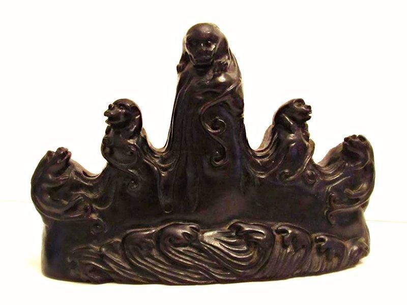 5-Peaked Zitan Brushrest with Mythical Beasts