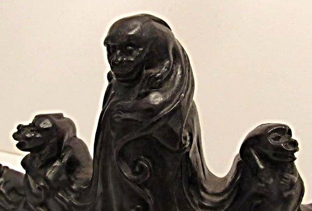 5-Peaked Zitan Brushrest with Mythical Beasts - 4