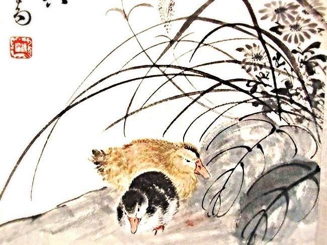 Chinese Decorative Scroll Landscape Painting with Ducks - 4