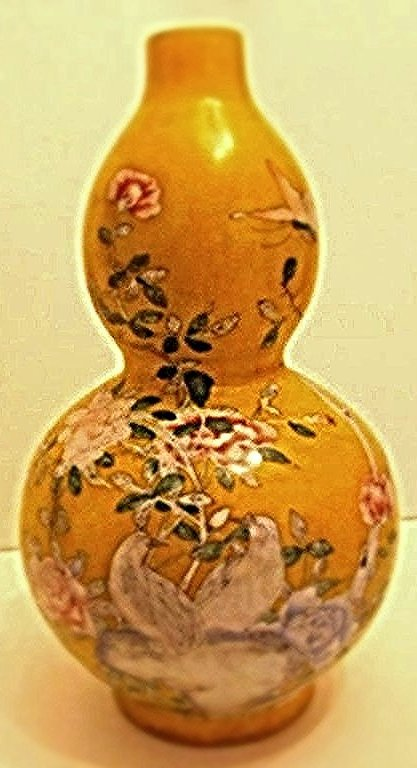 Beijing Enamel on Glass Double Gourd Vase Floral Motif