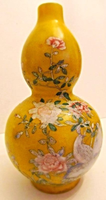 Beijing Enamel on Glass Double Gourd Vase Floral Motif - 4