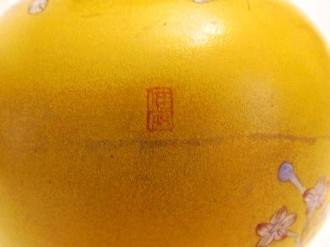 Beijing Enamel on Glass Double Gourd Vase Floral Motif - 6