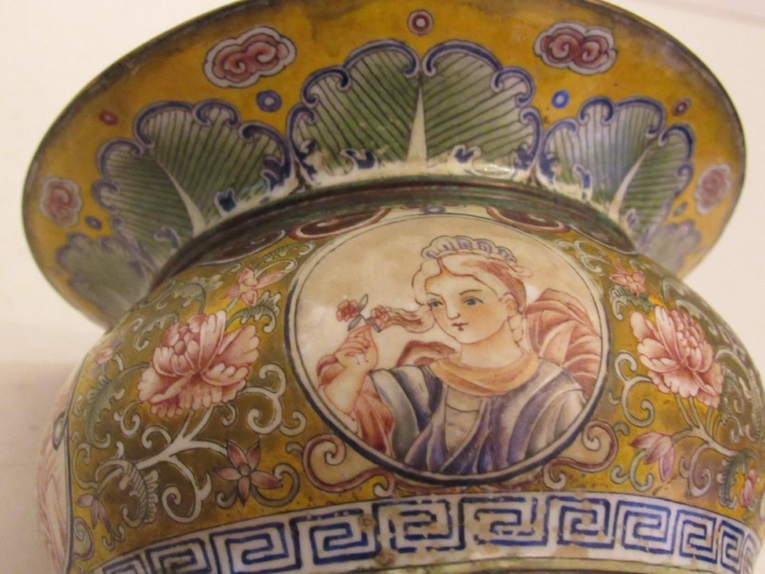 Painted Beijing Enamel Zhadou Yellow on Gilt Bronze - 3