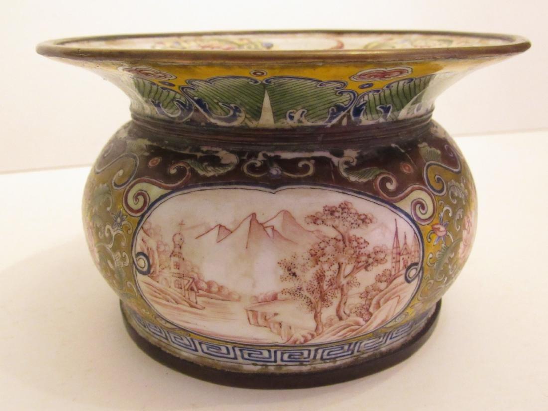 Painted Beijing Enamel Zhadou Yellow on Gilt Bronze - 4