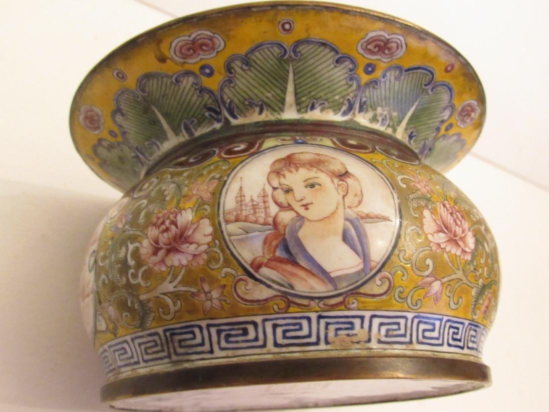 Painted Beijing Enamel Zhadou Yellow on Gilt Bronze - 5