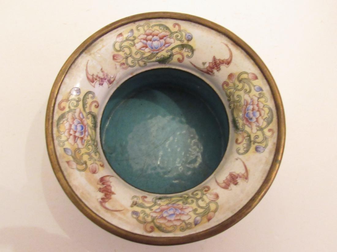 Painted Beijing Enamel Zhadou Yellow on Gilt Bronze - 6