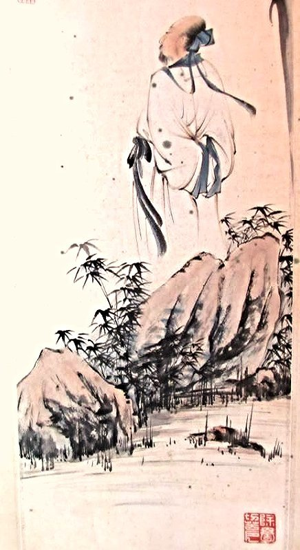 Chinese Scroll Painting with Classical Scholar - 5
