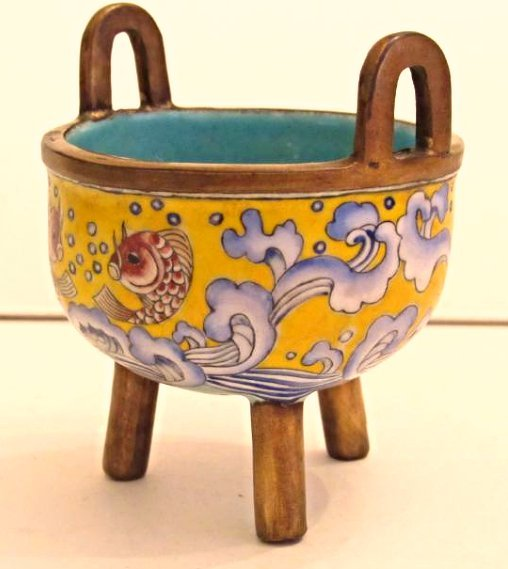 Beijing Enamel Tripod Incensor with Carp Motif