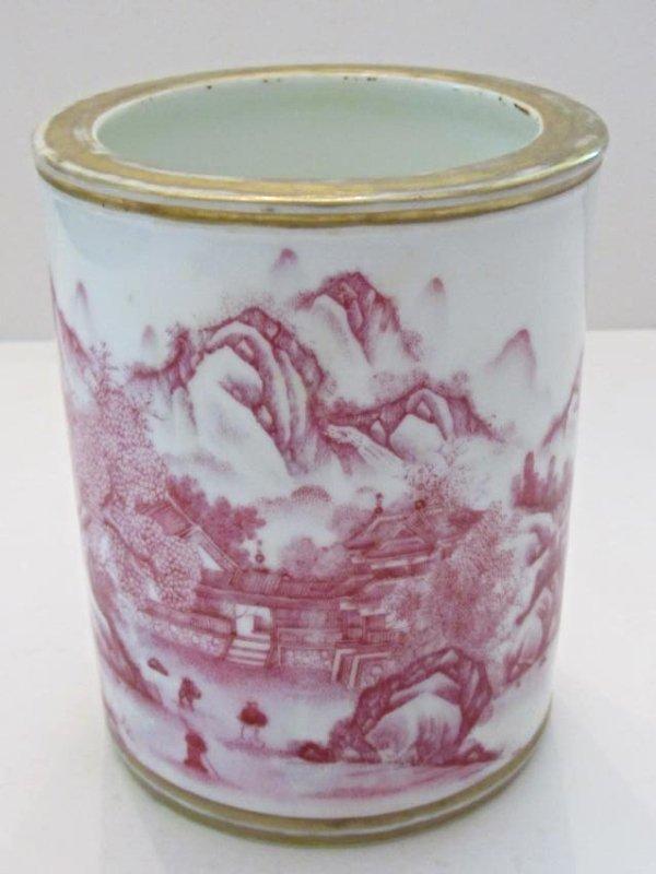 Porcelain Brushpot Classical Landscape Motif