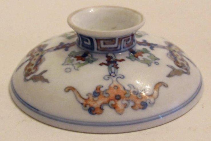 Overglaze Multi-Color Enamel Porcelain Cup with Cover - 10