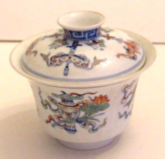Overglaze Multi-Color Enamel Porcelain Cup with Cover