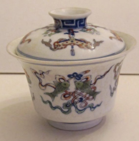 Overglaze Multi-Color Enamel Porcelain Cup with Cover - 2