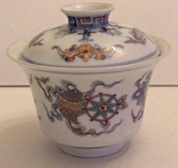 Overglaze Multi-Color Enamel Porcelain Cup with Cover - 3