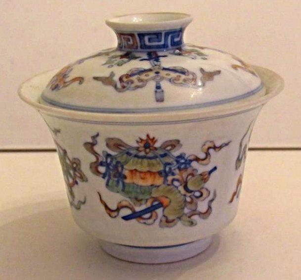 Overglaze Multi-Color Enamel Porcelain Cup with Cover - 4