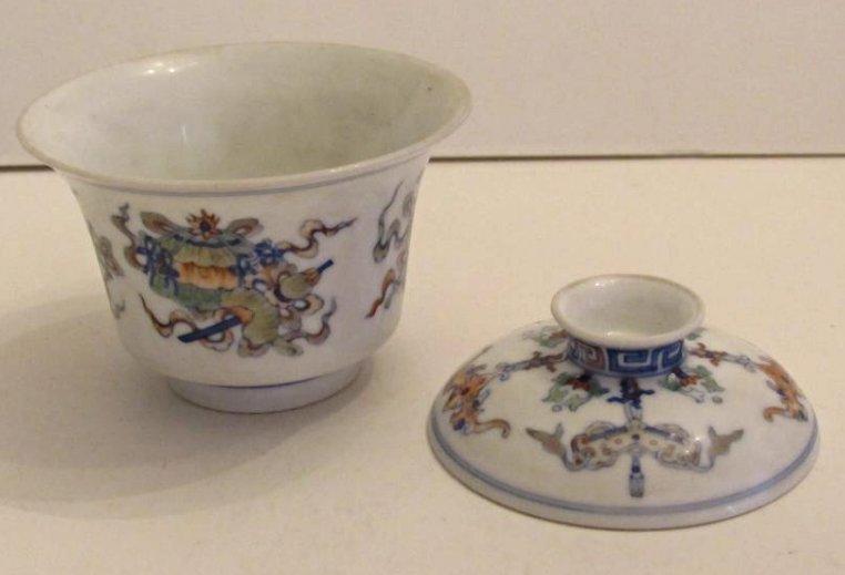Overglaze Multi-Color Enamel Porcelain Cup with Cover - 5