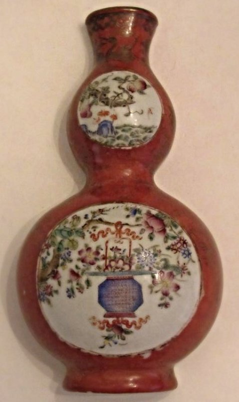 Porcelain and Enamel Wall Vase Floral Motif