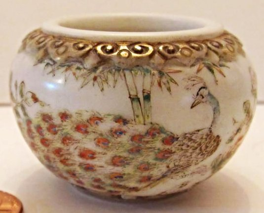 Chinese Peking Glass Bowl with Peacock and Floral Motif - 2
