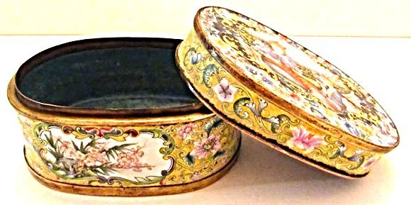 Enamel Covered Box with Western Beauties