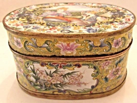 Enamel Covered Box with Western Beauties - 2