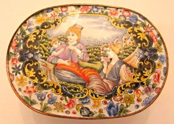 Enamel Covered Box with Western Beauties - 5