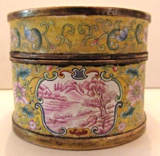 Enamel Covered Box with Western Beauties - 9