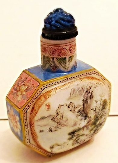 Faceted Glass Snuff Bottle with Landscape Painting