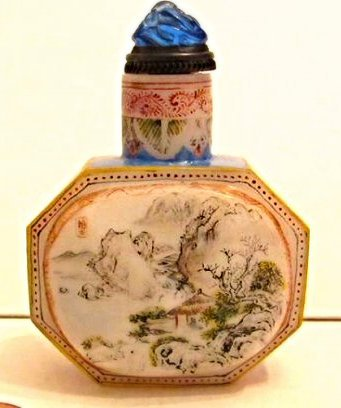 Faceted Glass Snuff Bottle with Landscape Painting - 2