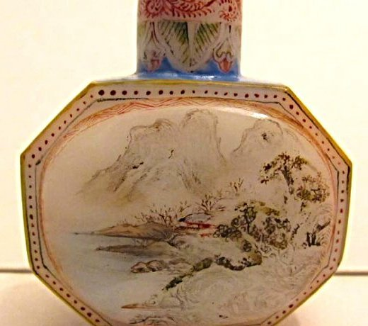 Faceted Glass Snuff Bottle with Landscape Painting - 4