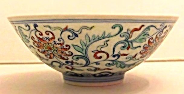 Blue and White with Polychrome Overglaze Porcelain Bowl