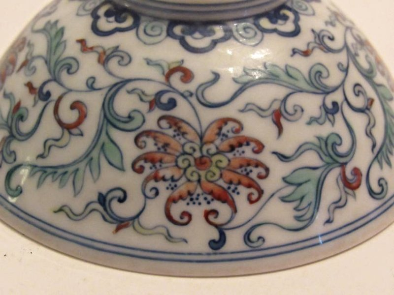 Blue and White with Polychrome Overglaze Porcelain Bowl - 6