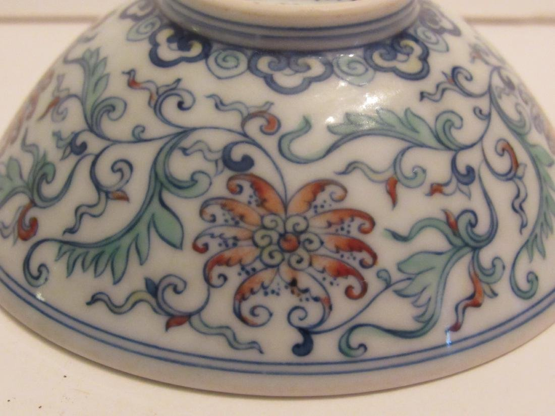Blue and White with Polychrome Overglaze Porcelain Bowl - 7