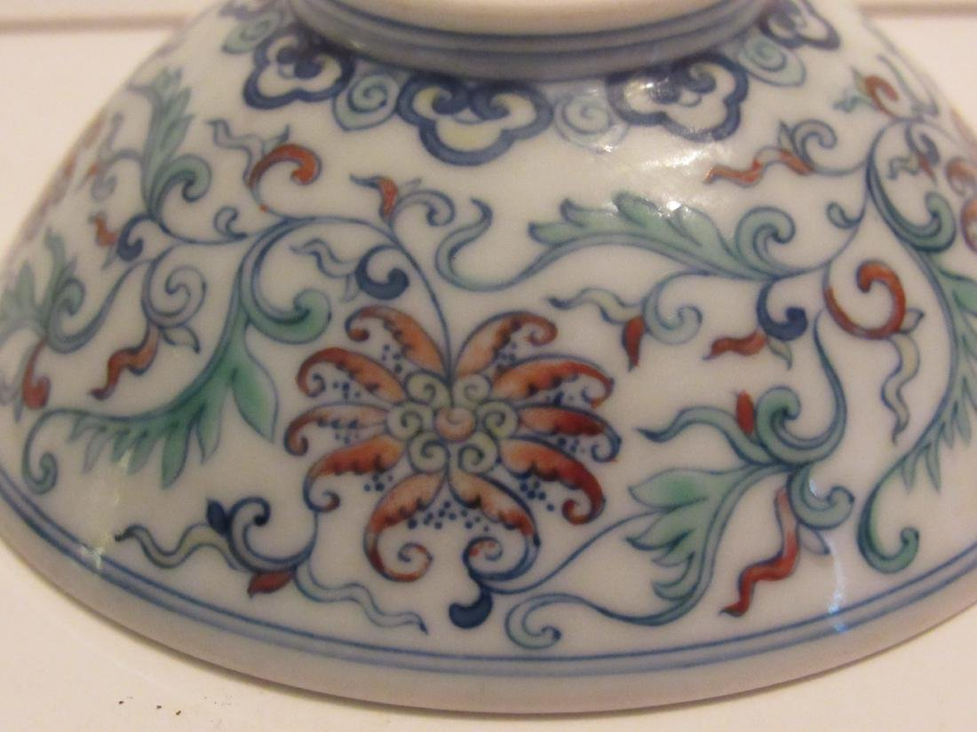 Blue and White with Polychrome Overglaze Porcelain Bowl - 9