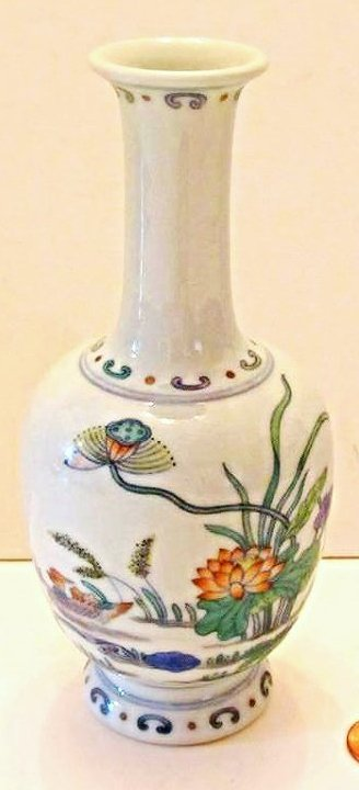 Porcelain Vase with Duck and Lotus Motif
