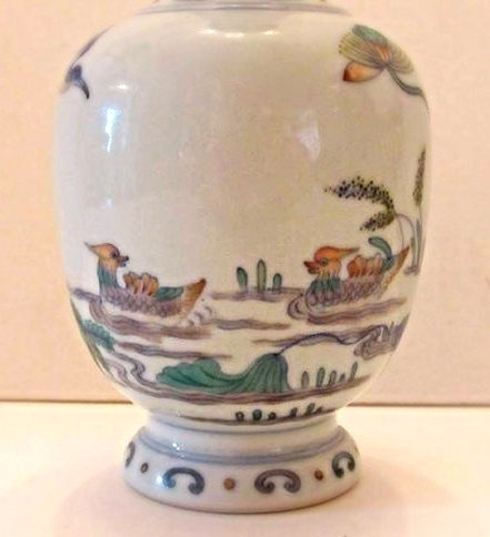 Porcelain Vase with Duck and Lotus Motif - 2