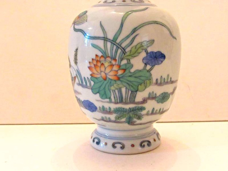 Porcelain Vase with Duck and Lotus Motif - 3